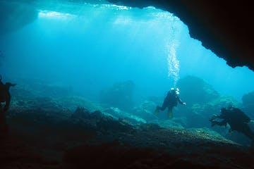 Diver in a sea cave