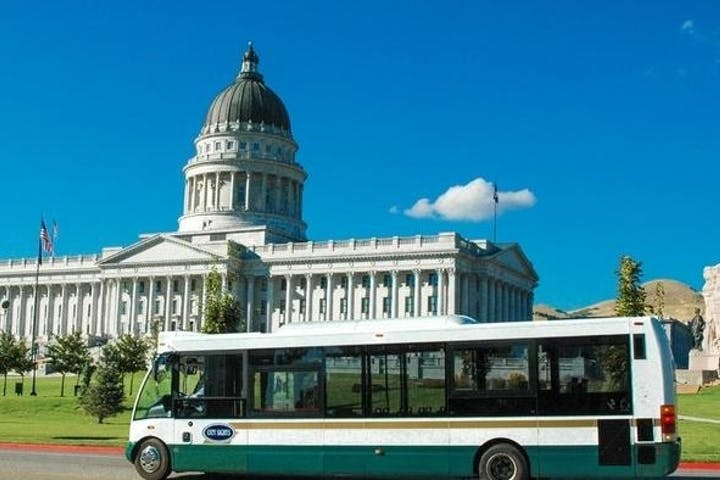 Salt Lake City capitol hill with bus out front