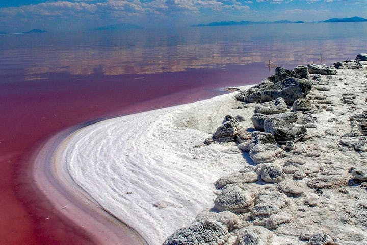 Great Salt Lake Shore with red hued water