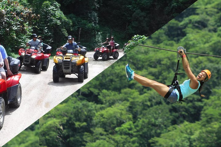ATV's on dirt road and woman on a zipline