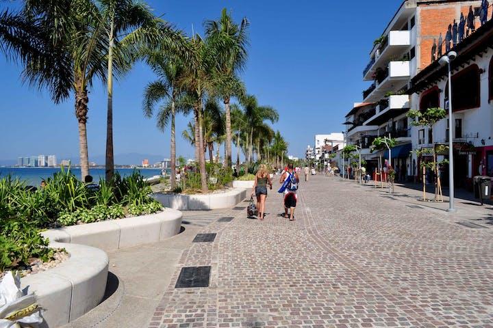 People walking near the beach