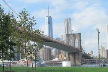 brooklyn bridge with park and trees