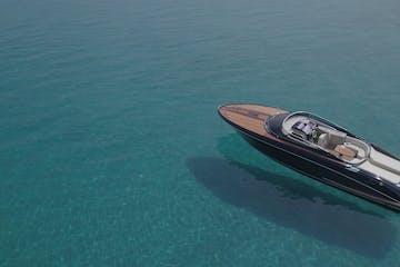 Blue luxury yacht in Greece