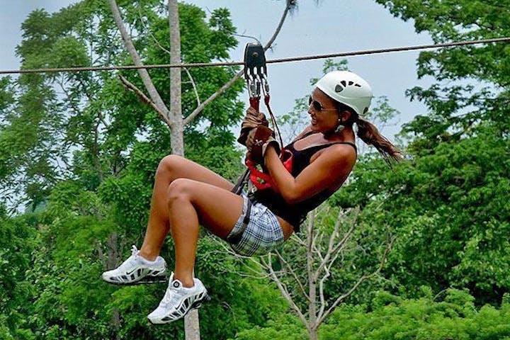 Woman on zipline