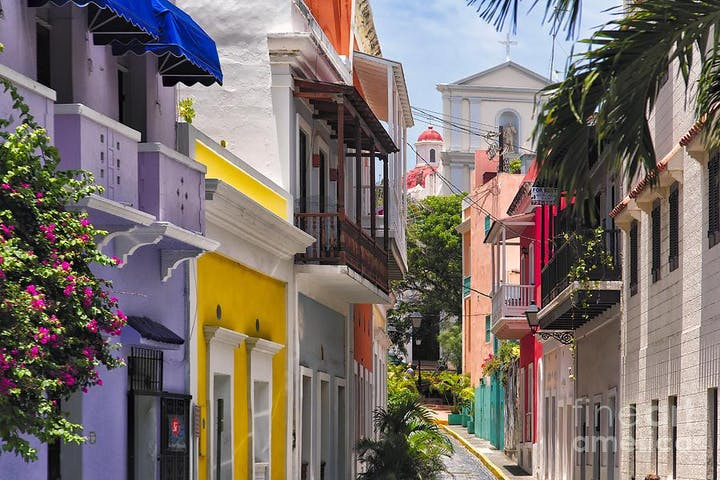 Old San Juan street view of buildings