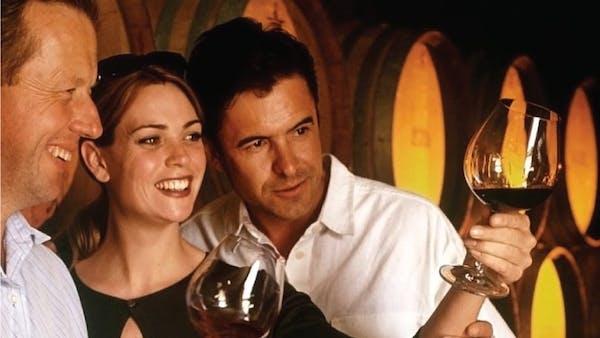Tourists tasting wine on tour
