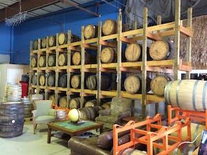 Barrels of rum at Drum Circle Distillery
