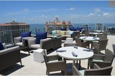 Dining area of the Westin rooftop bar in Sarasota, FL