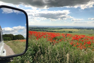 Picture of a side mirror of a white 4x4 Land Rover next to a poppy field