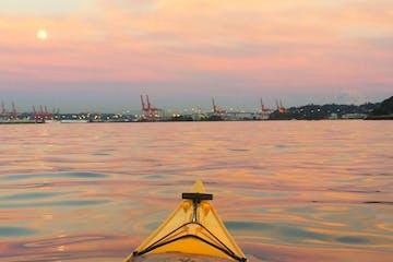 kayak nose at sunset