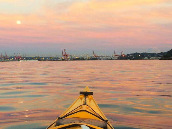 kayak nose at sunset