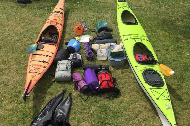 kayak gear on grass