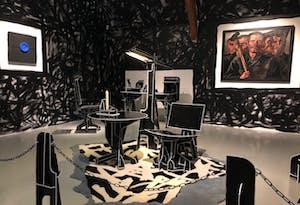 Artwork of a black interior by artist Joost van Bleiswijk
