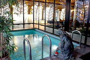 A swimming pool in art deco style with a statue