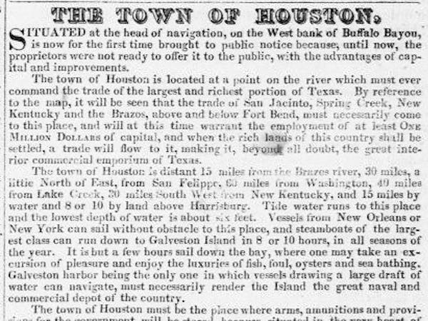 A document about the town of Houston