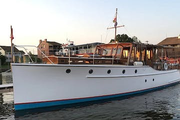 front view of vintage yacht