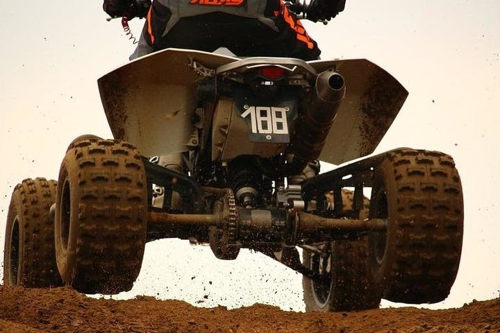 low shot of atv wheels