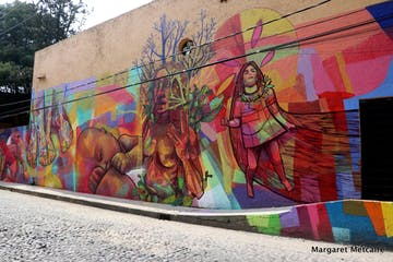 a group of colorful graffiti