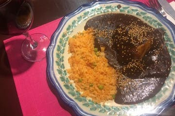 plate of mole with rice