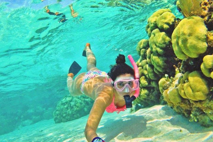 woman snorkeling underwater