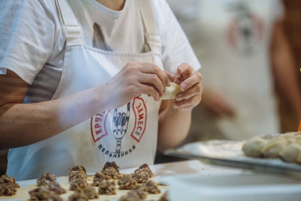 Hand-made dumplings in Irkutsk