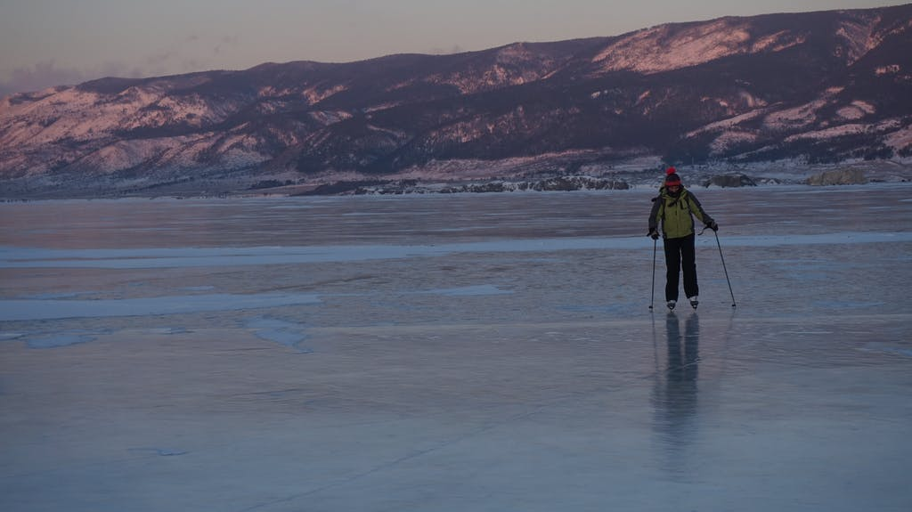 Ice skating on lake Baikal