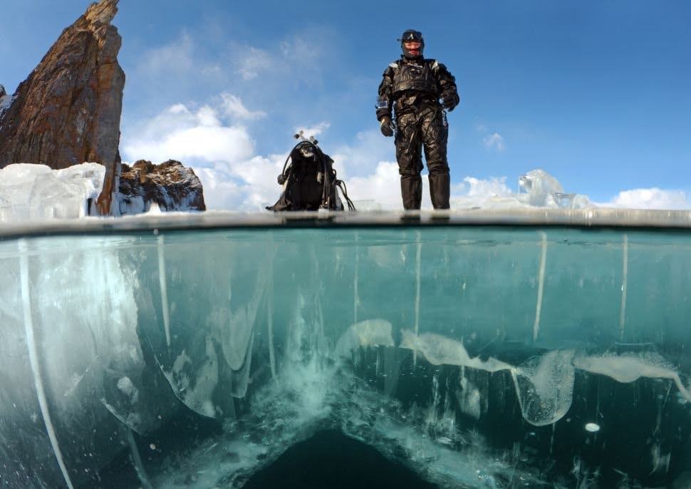 Ice diving on Lake Baikal is an entertainment for the most daring divers.