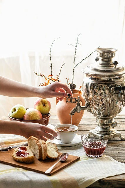 Up to 8 cups of tea used to be drunk that is why samovars could contain 3 buckets of water.