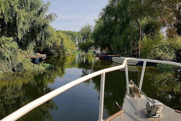a lake and a boat
