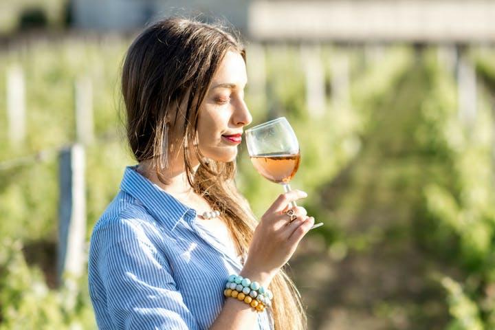 woman tasting a rosé wine