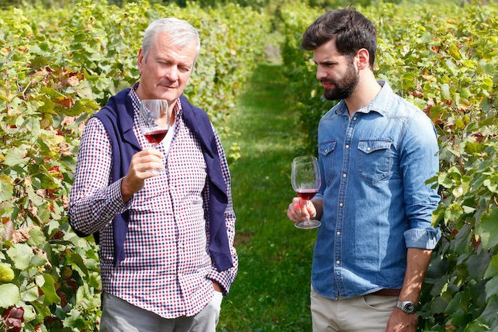 Men tasting wine in a vineyard