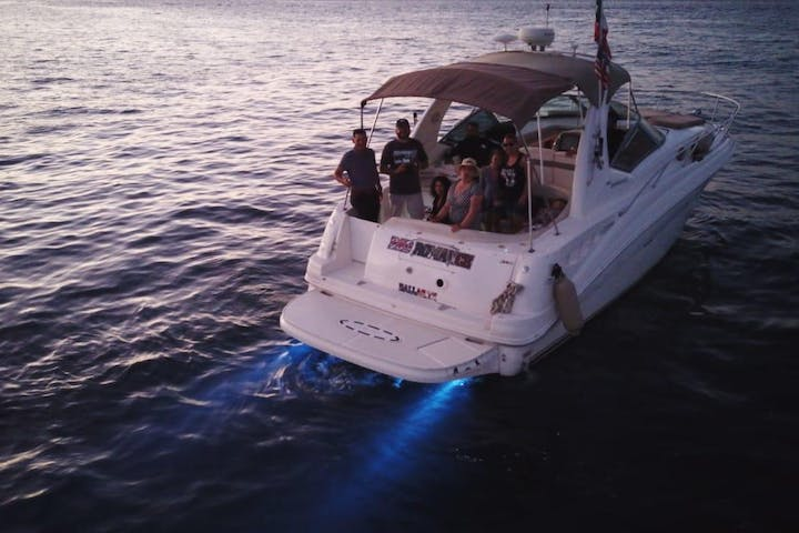 Bad Romance-32' Sea Ray on water with people