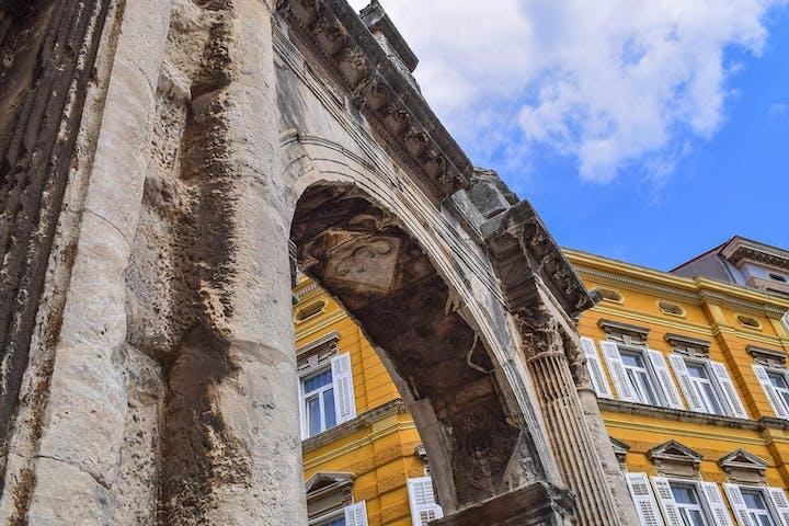 Detail of a building in Pula, Croatia