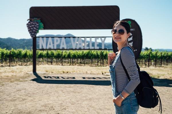 Woman at Napa Valley vineyard