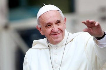 Pope Francis wearing a hat