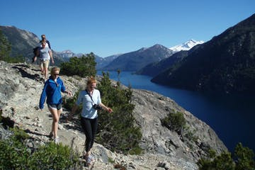 A group of travelers hiking in Bariloche, Argentina.
