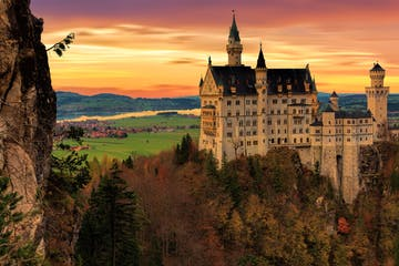View of Neuschwanstein Castle at sunset