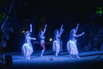 hula dancers in a luau