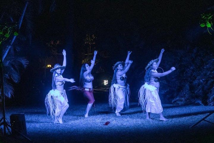 hula dancers in a luau