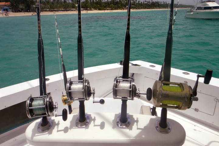 fishing rods on boat in punta cana