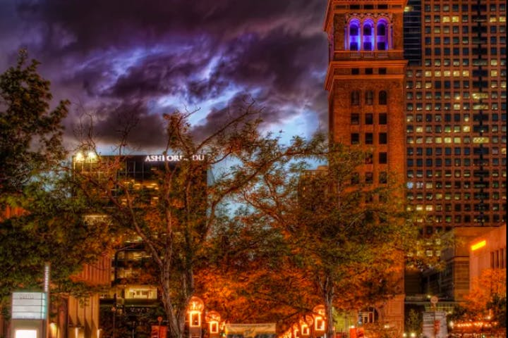 16th Street at night