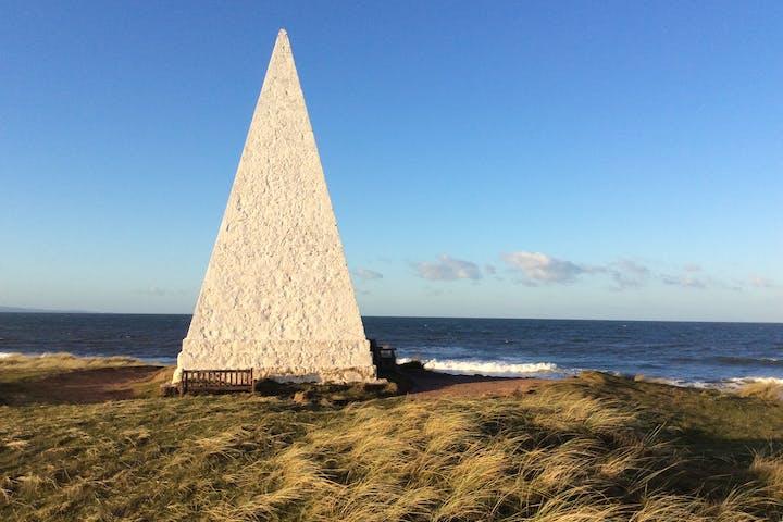 Stone obelisks on Holy Island of Lindisfarne Walk