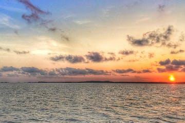beautiful sunset over large bay