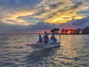 sunset boating