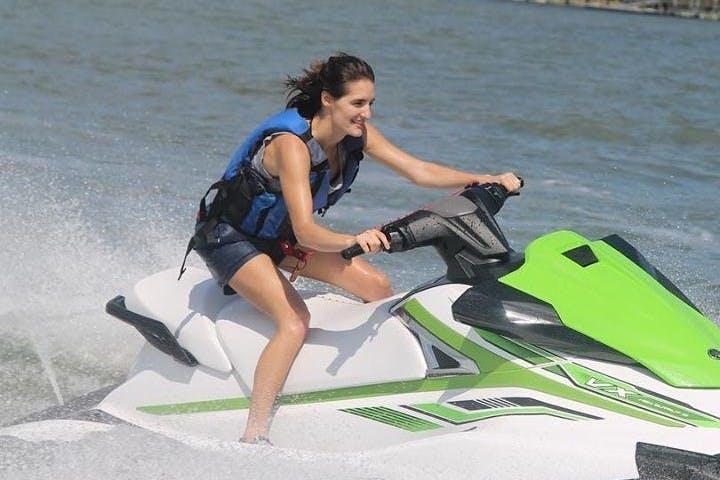 Woman riding on a jet ski