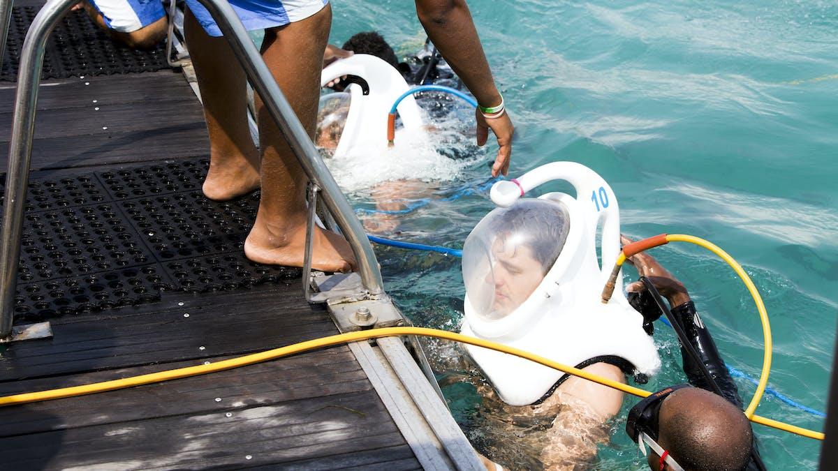 people walking under water with seaquarium