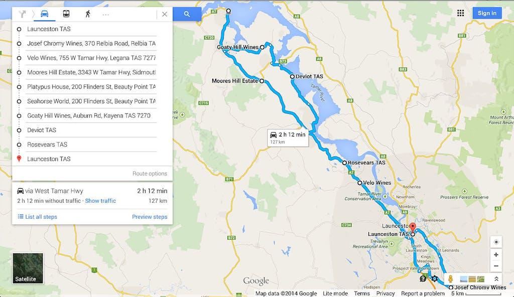 Tamar Valley Wine Tour map