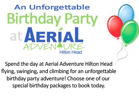 Aerial Adventure Hilton Head birthday graphic