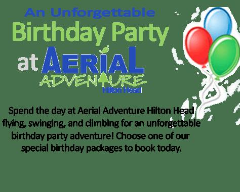 Aerial Adventure Hilton Head birthday graphic