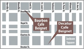 Map of meeting locations for French Quarter Tours: Decatur Cafe Beignet and Bourbon Cafe Beignet